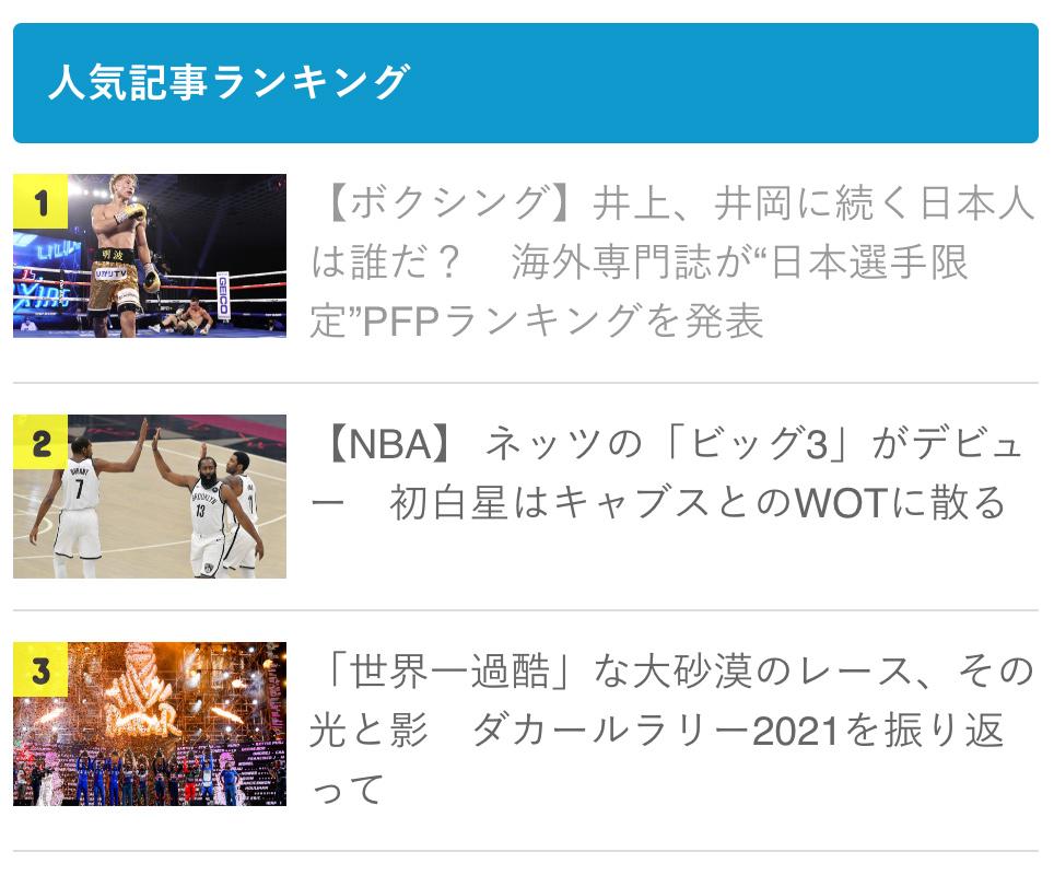 【先週のランキング】ボクシング&井上尚弥が初首位 NBA、ダカール・ラリーも上位に 画像