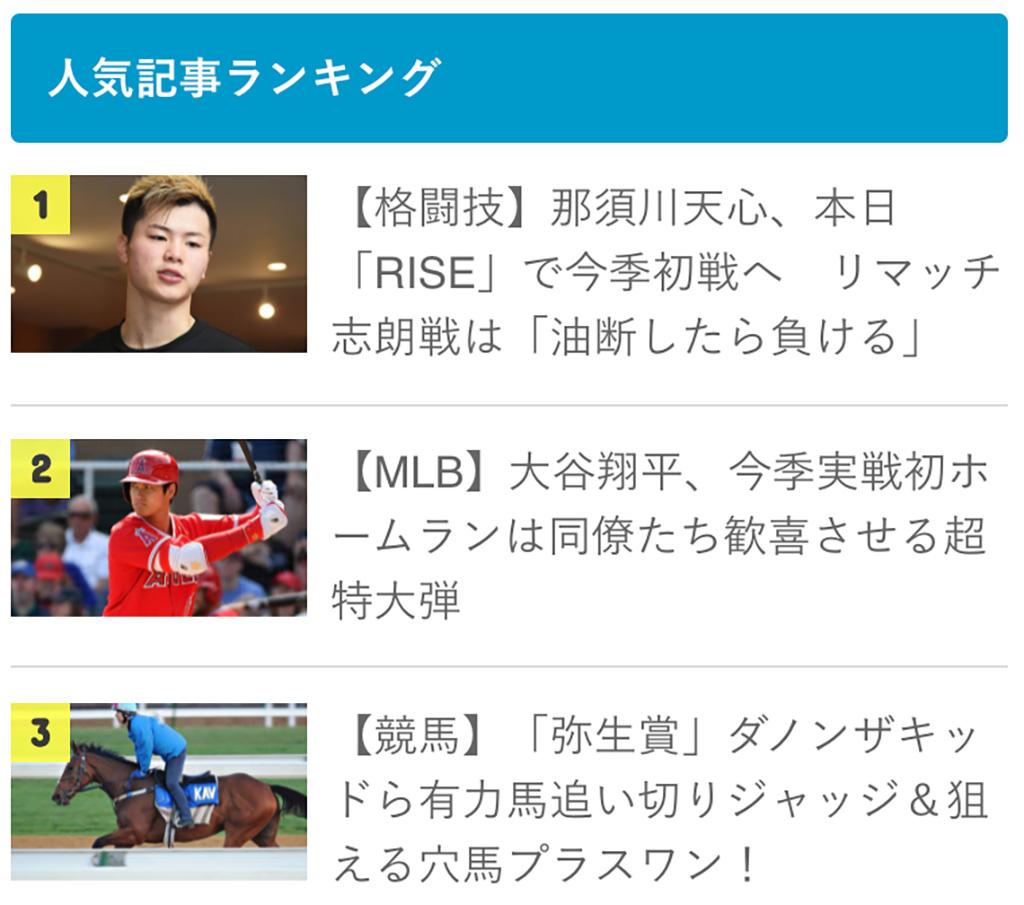 【先週のランキング】 ダノンザキッド、大谷翔平、那須川天心、さあ、1位は誰だ